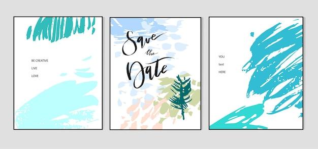 創造的なユニバーサルカードのセット。手描きのテクスチャ。