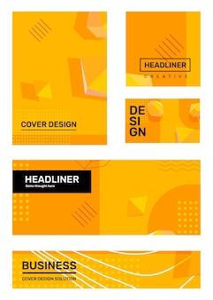 Набор творческих желтых абстрактных иллюстраций с формой, 3d элемент, заголовок