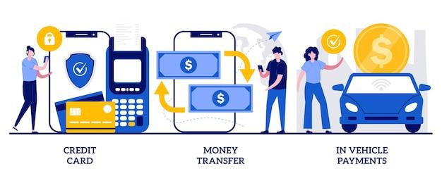 신용 카드 세트, 송금, 차량 결제, 디지털 결제