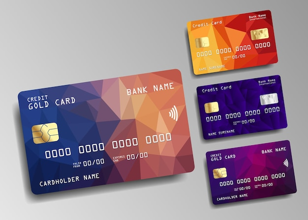 Набор кредитной или дебетовой карты. дизайн кредитной карты.