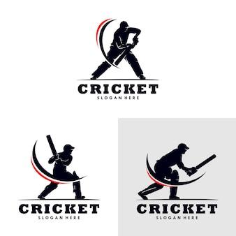 크리켓 스포츠 로고 템플릿 디자인의 세트