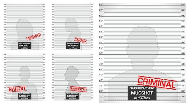 分離された犯罪者のマグショットライン警察のセットまたは警察がマグショットシルエットまたは匿名を並べる