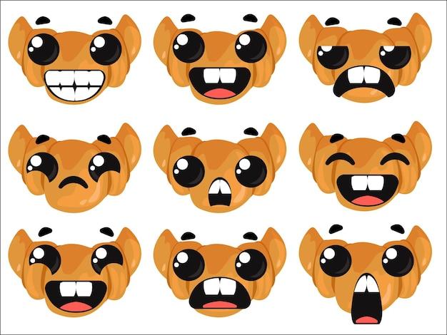 感情を持つクロワッサンのセットプレッツェルの形で焼く漫画のベクトル図