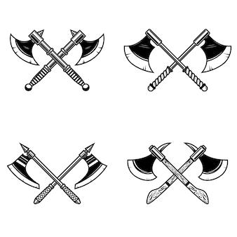 白い背景の上の交差した中世の斧のセットです。ロゴ、ラベル、エンブレム、記号の要素。図