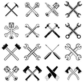 교차 톱, 망치, 피스톤, 렌치, 도끼 세트. 로고, 라벨, 엠블럼, 기호 디자인 요소입니다.