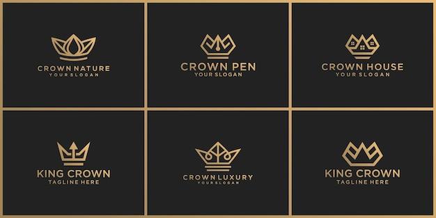 王冠のロゴのデザインテンプレートのセット