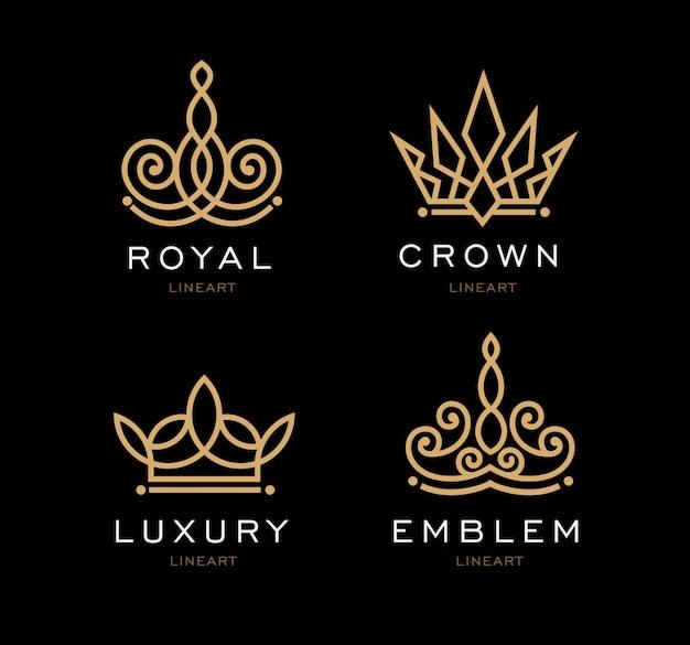 王冠のロゴのテンプレートのセット。事業会社、ホテル、ブティック、レストラン、招待状、ジュエリー、手紙の王冠デザイン。流行に敏感な勝者のロゴ。アワードイベント。不動産モノグラムデザイン