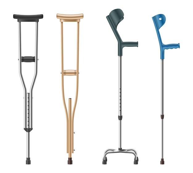 Набор костылей. локоть, телескопическая металлическая, деревянная трость для инвалидов для ходьбы пациентов. медицинское оборудование для реабилитации людей с заболеваниями опорно-двигательного аппарата. векторная иллюстрация