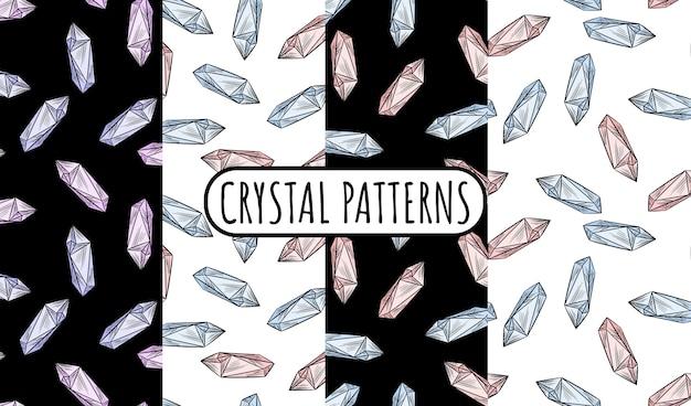 Набор кристаллов каракулей бесшовные пограничные узоры.