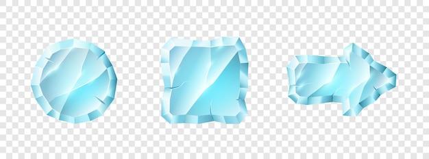 크리스탈 미디어 플레이어 버튼 아이콘의 집합입니다. 투명한 배경에서 격리된 비디오 오디오 플레이어 응용 프로그램 사용자 인터페이스의 재생 및 일시 중지 버튼. 벡터 일러스트 레이 션