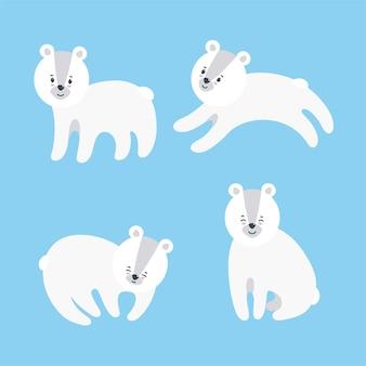 Набор плюшевых белых медведей для принтов и узоров на текстильной бумаге и других материалах.