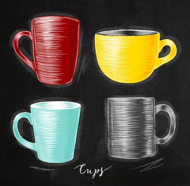 칠판 바에 빨간색, 노란색, 청록색, 회색으로 그리는 컵 다른 형태의 집합
