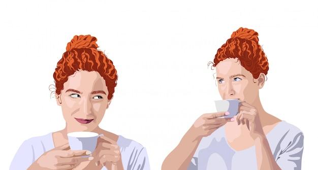 カップから飲むと笑顔の白いtシャツの生姜巻き毛の女性のセット。ヘアパン