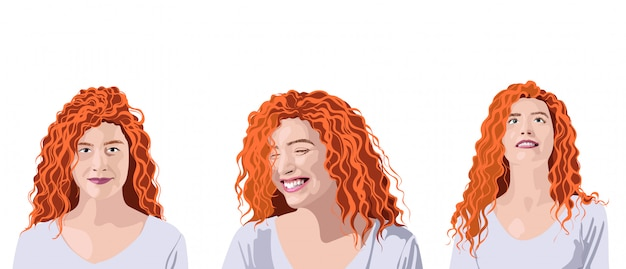 異なる表情と位置を持つ白いtシャツのカーリージンジャー女性のセット