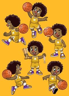 곱슬 머리 흑인 소년 농구 선수의 세트