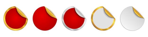 カットアウトステッカーのセット。赤い丸いステッカーモックアップ。