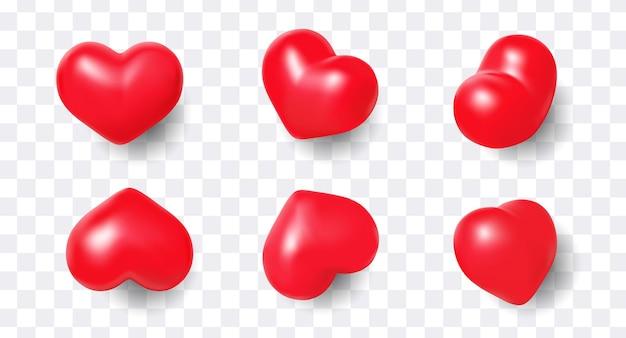 Набор милых 3d реалистичных сердец изолированы