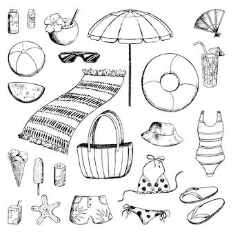 해변 휴가를 위한 귀여운 액세서리 세트. 바다, 여름, 해변에서의 휴일. 스케치 스타일의 휴가 테마 컬렉션입니다. 손으로 그린 벡터 일러스트 레이 션. 디자인을 위해 격리된 검정 잉크 윤곽 요소입니다.