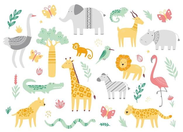 かわいいアフリカの動物園の動物のセット