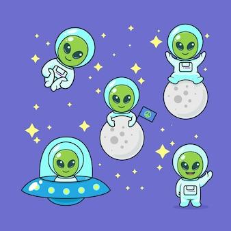 Набор милый инопланетный дизайн
