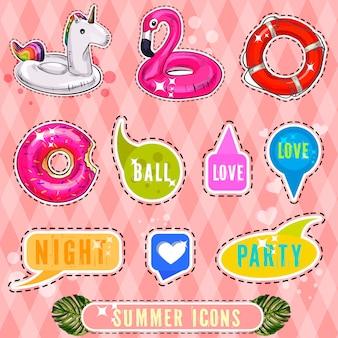 Набор милые и веселые летние наклейки элементов. иллюстрация Premium векторы