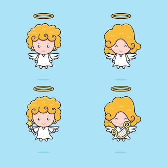かわいい天使のマスコットキャラクターのセットです。青い背景に分離されたデザイン。