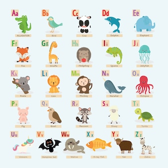 Set of cute animal alphabet