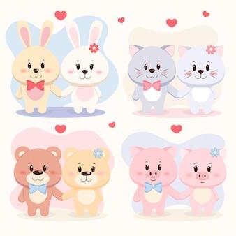 Набор милых пар животных, медведя, свиньи, кролика и кошки