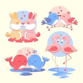 Набор милых пар животных