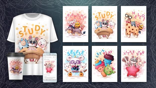 ポスターや商品のかわいい動物の描画のセット