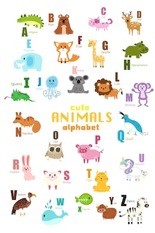 かわいい動物アルファベットのセット。