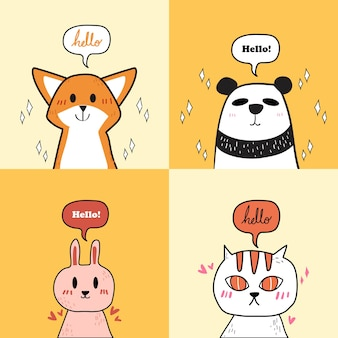 Набор милых животных: кошка, панда, кролик и лиса.