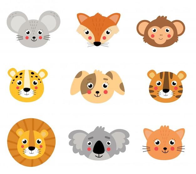 Набор милых животных. лица диких и домашних животных.