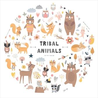 귀여운 동물의 집합입니다. 숲 동물, 곰, 사슴, 여우, 토끼, 새, 고슴도치.