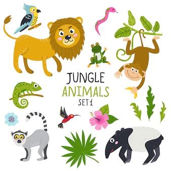 정글에서 귀여운 동물 세트