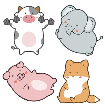 かわいい動物の手描き漫画のキャラクターデザインのセット