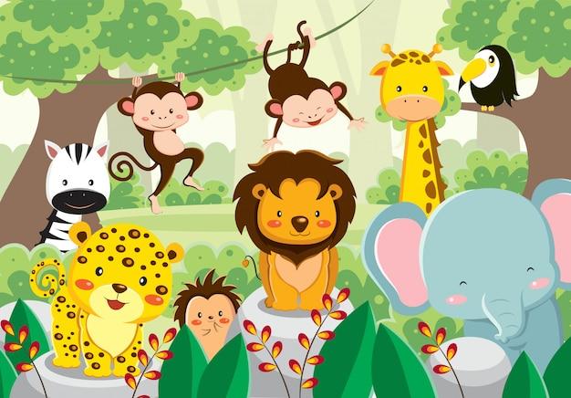 ジャングルの中でかわいい動物のセット