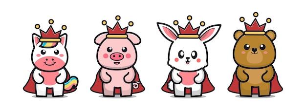 王冠の漫画のキャラクターを身に着けているかわいい動物のセット