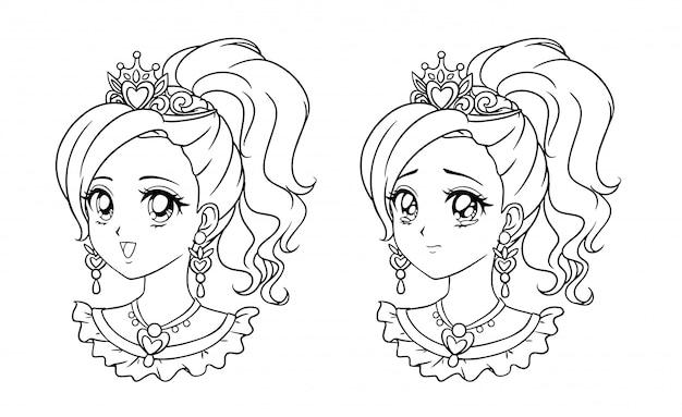 Комплект милого портрета принцессы аниме, ретро иллюстрации стиля манги нарисованной рукой. изолированные на белом фоне