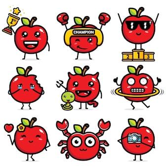 Набор милый векторный дизайн яблока