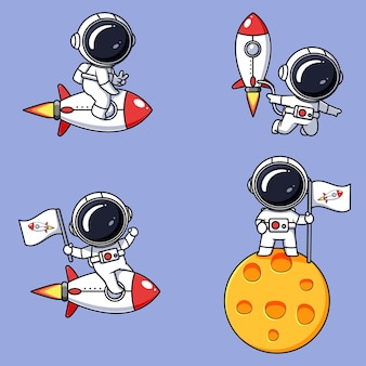 Набор милых дизайнов космонавтов