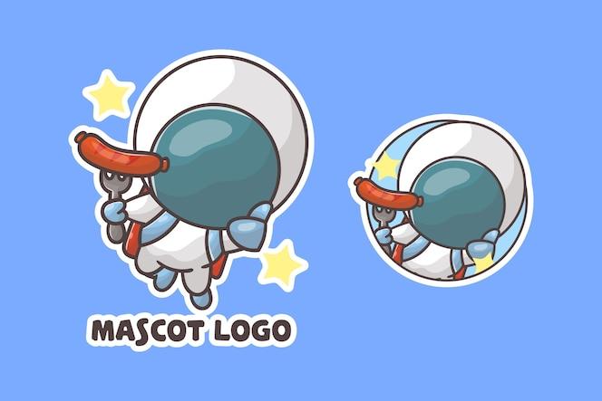 선택적 모양의 귀여운 우주 비행사 소시지 마스코트 로고 세트.