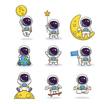 귀여운 포즈와 귀여운 우주 비행사의 세트