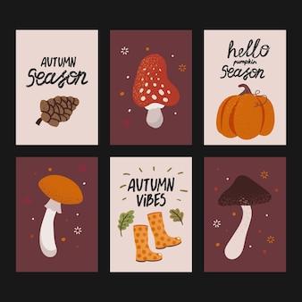 手書きのテキストでかわいい秋のカードのセットです。カボチャ、キノコ、その他の秋の要素を持つ美しいポスター