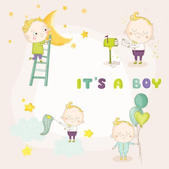 Набор иллюстраций милый мальчик
