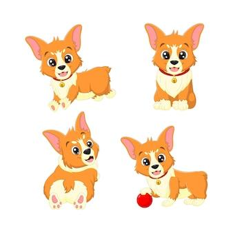 さまざまなポーズでかわいい赤ちゃん犬の漫画のセット