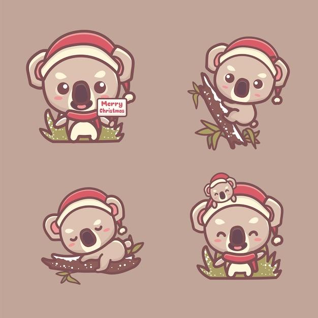 Набор милый ребенок коала рождество улыбается, обнимает дерево, спит на дереве. каваи мультфильм вектор