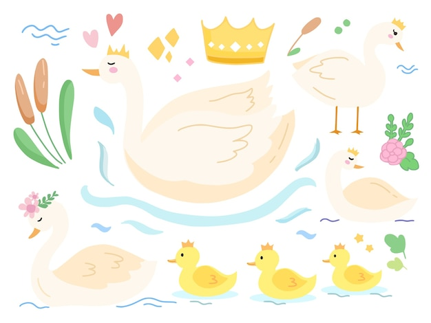 Набор милый ребенок кролик лебединое озеро иллюстрации