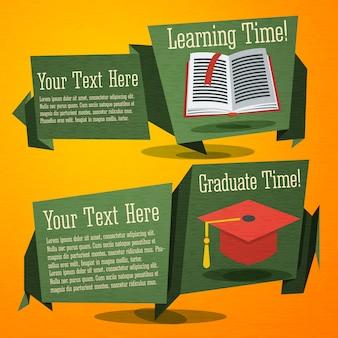 教科書と卒業の帽子とバナーを学校にかわいいのセットです。あなたの広告テキストのための場所で。