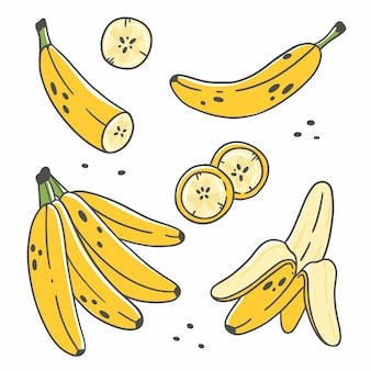Набор милых бананов в мультяшном стиле каракули, изолированные на белом